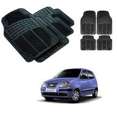 After Cars Black Carpet Floor/Foot 4D Rubber Mats for Hyundai Santro Xing ERLX Car