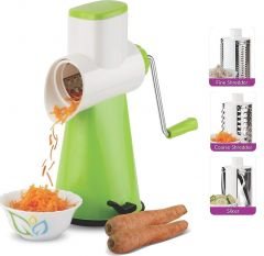 4 In 1 Vegetable Grater Mandoline Slicer, Rotary Drum Fruit Cutter Cheese Shredder Thick And Thin Slicer And first time in India with 4 attached colorful Drum with Stainless Steel