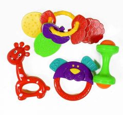 4 Cute Rattles Toys For Little Babies, Toddlers, 100 Percent Bpa Free (Pack Of 4)