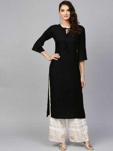 Women Solid Rayon Straight Kurta (Black)-Pack of 1