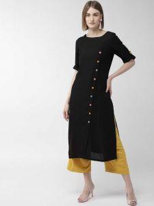 Women Solid Rayon Straight Kurta(Black)