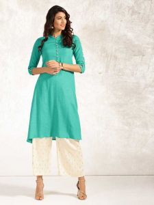 Women Solid Pure Cotton Straight Kurta (Green)