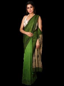 Handloom Soft Khadi Saree With Blouse Piece -  White/Green