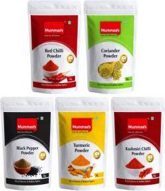 Mummaa's Chilli Powder (100g) + Coriander Powder (100g ) + Turmeric Powder (100g) + Kashmiri Chilli Powder (100g) + Black Pepper Powder (100g)  (5 x 100 g)