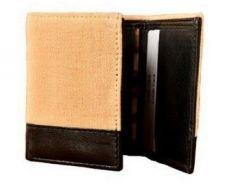 ASPENLEATHER Genuine Canvas Leather Wallet For Men (Beige)