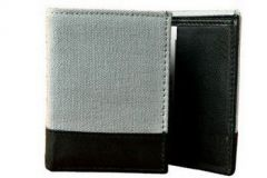 ASPENLEATHER Genuine Canvas Leather Wallet For Men (Grey)