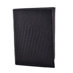 ASPENLEATHER Bi-Fold Black Embossed Leather Wallet For Men With Side Flap