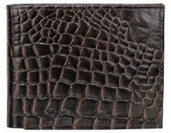 ASPENLEATHER Bi-Fold Embossed Leather Wallet For Men With Side Flap (Chocolate)