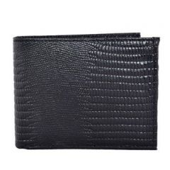 ASPENLEATHER Bi-Fold Genuine Stylish Embossed Leather Wallet For Men With Side Flap (Black)