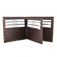 ASPENLEATHER Bi-Fold Embossed Leather Wallet For Men With Side Flap (Brown)