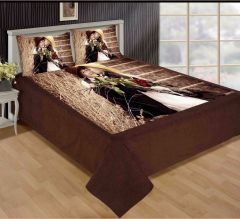 Tanishkam Décor Digital Printed Velvet King Size Double Bedsheet with 2 Pillow Covers (90x100) Prnited Beautiful Couple
