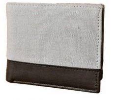 ASPENLEATHER Genuine Canvas Grey Leather Wallet For Men