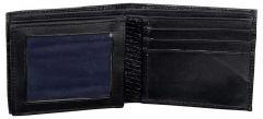 ASPENLEATHER Bi-Fold Embossed Genuine Leather Wallet For Men With Side Flap (Black)