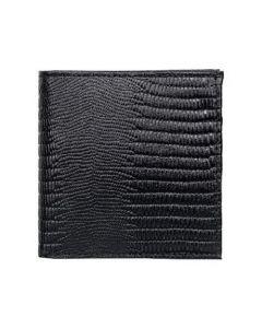 ASPENLEATHER Genuine Bi-Fold Embossed Leather Wallet For Men With Side Flap (Black)