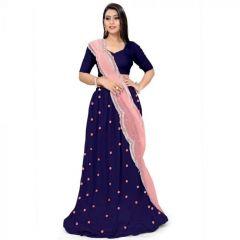 JANKISILKMILL Women's Taffeta Semi-Stitched Embroidered Lehenga Choli With Dupatta - Navy Blue