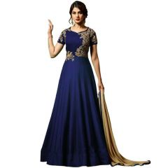 BRAND JUNCTION Banglowry Semi-stitched Embroidered Gown - Blue