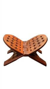 Wooden Handmade Reading Book Stand Hand Carved Rahel Sheesham Wood Holy Books Stand Made from Premium Quality Sheesham Wood