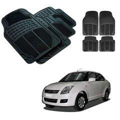 After Cars Black Carpet Floor/Foot 4D Rubber Mats for Maruti Suzuki Swift Dzire 2009 Car
