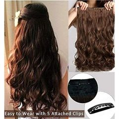 Akashkrishna Natural Brown Clip In Wavy/Curly Hair Extension For Women And Girls