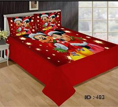 Tanishkam Décor Digital Printed Velvet King Size Double Bedsheet with 2 Pillow Covers (90x100) Printed Cartoons