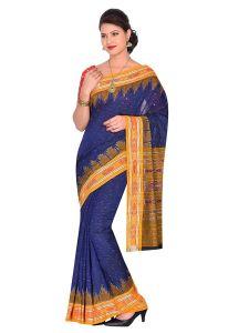 Jharana Handloom Womens Maniabandhi Sambalpuri Ikat Cotton Saree -  Blue/ Yellow