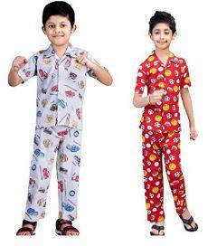 Hydes Buy 1 get 1 Set of 2 pcs Boys Kids Night Suit Super Soft Nightwear Cotton Night Suit Set for Boys Age 2 yrs