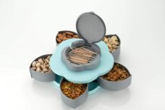 Ethnic Forest Five Compartments Flower Candy Box Serving Rotating Tray Dry Fruit, Candy, Chocolate, Snacks Storage Box with Phone Stand for Home Kitchen
