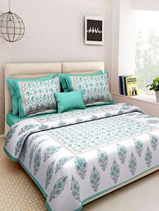 Astro Tc 144 Designer 100% Pure Cotton Jaipur Block Multi Print King Size Double Bedsheet with 2 Pillow Covers