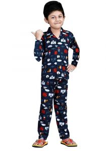 Bonnitoo Hydes Self Printed Boys Kids Night Suit Super Soft Nightwear Cotton Night Suit Full Sleeves Set