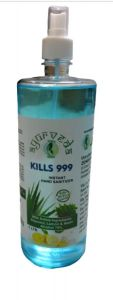 Kills 999 Zenes Biotech's Sanitizer Liquid with Spray Pump for Hand Rub and Disinfectant with Guaranteed Alcohol -1 L