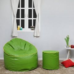 VSK Green Color Combo Sofa Mudda Bean Bag Cover with Round Footrest/Puffy (Without Beans) - XXXL
