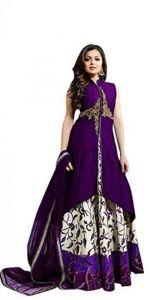 JANKISILKMILL Women's Satin Semi-Stitched Embroidered Lehenga Choli With Dupatta - Purple