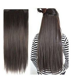 Akashkrishna 5 Clips ¾ Head 1 Piece Hair Extensions For Women And Hair Extensions For Girls To Increase Instant Length And Volume (Brown-Straight)