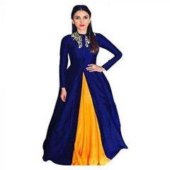 JANKISILKMILL Women's Satin Semi-Stitched Gown - Blue & Yellow