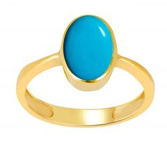 Jewelzon Turquoise Firoza 3cts or 3.25 ratti Panchdhatu Gold Plated Ring | Certified | Astrological Gemstone | Natural