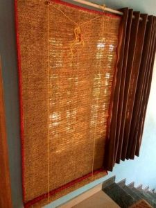 Windows and Balcony Natural Vetiver Aromatic Polyester Blend Curtains (pack of 1)