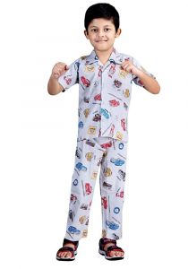 Bonnitoo Hydes Super Soft Nightwear Cotton Night Suit Full Pant Half Sleeve Set - White