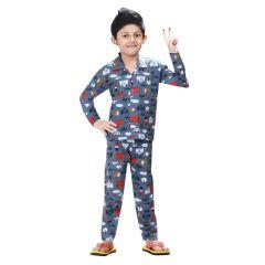 Bonnitoo Hydes Self Printed Boys Kids Night Suit|Super Soft Nightwear Full Sleeves Set
