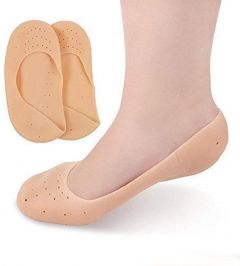 Nilkanth Fashion  Anti Crack Full Length Silicone Foot Protector Moisturizing Socks for Foot-Care and Heel Cracks (Beige)