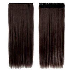 Akashkrishna Fashion Bajaar Straight Synthetic Hair Extensions for Women (Dark Brown)