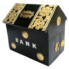 Handicraft Sheesham Wooden Hut Shaped Piggy Bank Money Bank Coin Bank (Brown)