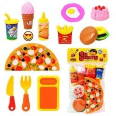WORLD OF NEEDS Plastic Kitchen/Restaurant Role Pretend Pizza Cutting Play Fast Food Set (Multicolour)