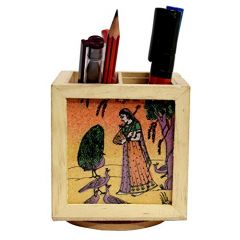 JunctionCraft Wooden Pen Stand with Photo of Radha Return Gift Office Stationery Pen Holder Paper weight 20562
