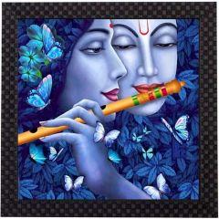 JC Radha Krishna UV Coated Home Decorative Gift Item Framed Painting Multi Effecting