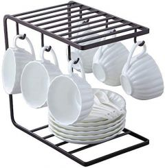 Coffee Mug Cup Holder Cup And Plate Stand With 6 Hooks For Large Mug  9.5 X 9.1Inch Utensil Holders & Organizers