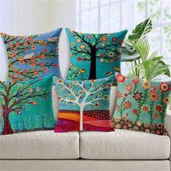Tanishkam Décor Jute Digital Printing Ultimate Home Décor Printed Cushion Covers (Set of 5) (16x16)