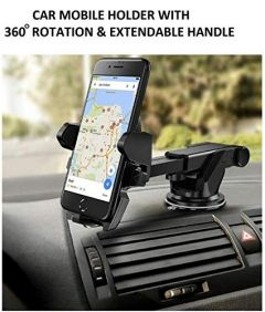 Poveria Car Mobile Phone Holder - Telescopic One Touch Long Neck Arm 360 Degree Rotation with Ultimate Reusable Suction Cup Mount for Car Dashboard/Windshield/Desktop