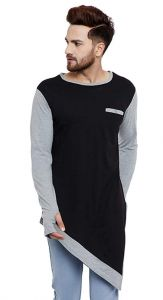 Fashion Gallery Men's Round Neck Tshirt|Men's Cotton Plain T-shirt|Bottom Trending T-shirt-L-Black/CoolGrey (Large)