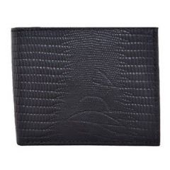 ASPENLEATHER Bi-Fold Embossed Leather Multi Features Wallet For Men With Side Flap (Black)