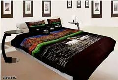 Tanishkam Décor Digital Printed Velvet Nature theme King Size Double Bedsheet with 2 Pillow Covers (90x100)
